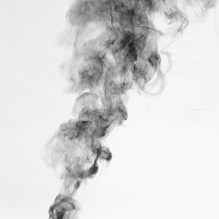 Beautiful black Smoke on White background