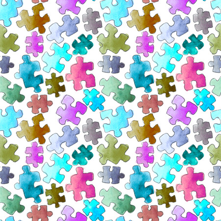 puzzle pattern seamless background. Pieces of puzzle. Watercolor hand drawn illustration. Cartoon puzzle Seamless wallpaper