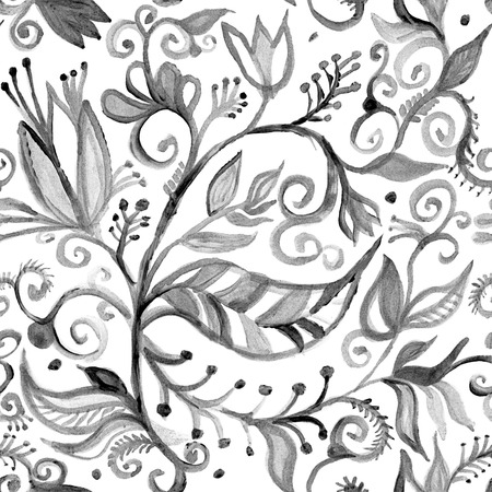 Watercolor seamless floral pattern borders. drawing painting background . Backdrop, background, fabric, Wallpaper. Summer abbstract flowers design. Black and white Stock Photo