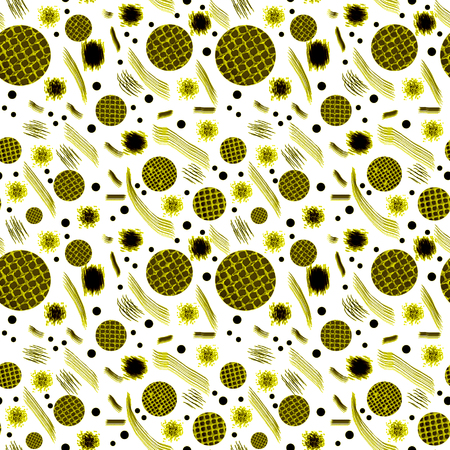 seamless pattern.Black and white circle ornament .Hand drawing painting background . Backdrop, background, fabric, Wallpaper design.