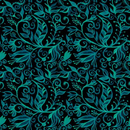 Watercolor seamless floral pattern borders. drawing painting background. Backdrop, background, fabric, Wallpaper. Summer abbstract flowers design. Blue pattern on black background
