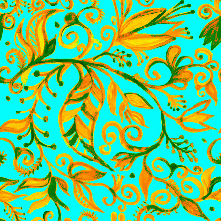 Watercolor seamless floral pattern borders. drawing painting background . Backdrop, background, fabric, Wallpaper. Summer abbstract flowers design.