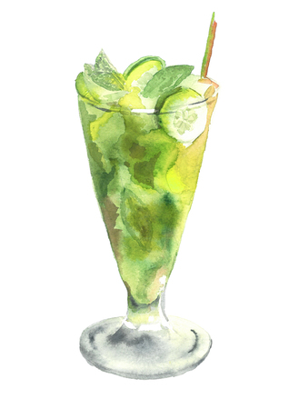 Glass of Mojito. Watercolor hand drawn illustration. Tropical green alcoholic cocktail witn rum, liquor, lemon fresh, isolated, watercolor illustration on white background