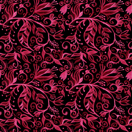 Watercolor seamless floral pattern borders. drawing painting background. Backdrop, background, fabric, Wallpaper. Summer abbstract flowers design. Red pattern on black background Stock Photo