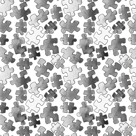 puzzle pattern seamless background. Pieces of puzzle. Watercolor hand drawn illustration. Cartoon puzzle Seamless wallpaper. Black and white Stock Photo