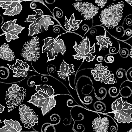 Grape bunches. Seamless pattern. Watercolor painting. Handmade drawing. grapes seamless pattern watercolor. Black and white Stock Photo
