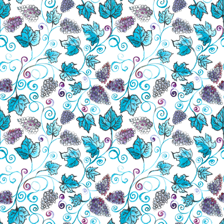 Grape bunches. Seamless pattern. Watercolor painting. Handmade drawing. grapes seamless pattern watercolor