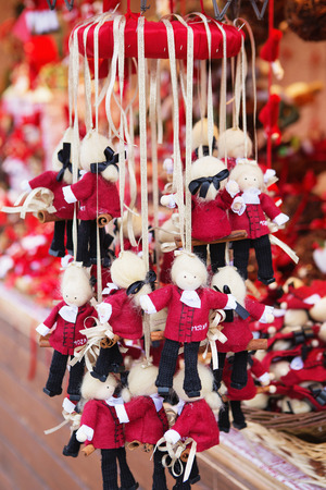 Close up of Christmas market stall in Vienna, Austria. Mozart figures at a Christmas market. Merry christmas, cute festive decoration, beautiful toys for new year Stock Photo