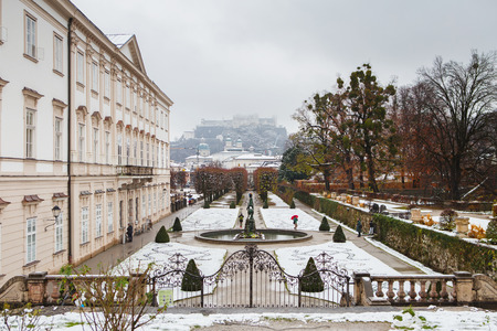 Salzburg, Austria - November 27, 2018: views to hohensalzburg fortress from mirabell gardens at winter landscape Editorial