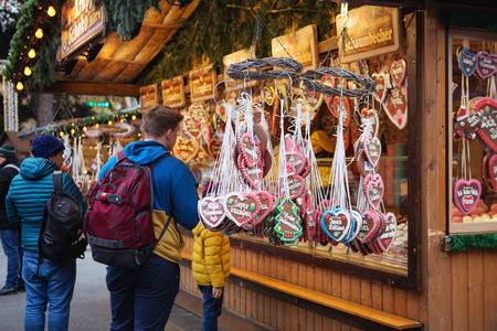 Vienna, Austria - November 24, 2018: Close up of Christmas market stall. Christmas gingerbread at a Christmas market. Merry christmas, cute festive decoration, beautiful toys for new year