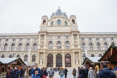 Vienna, Austria - November 25, 2018: Christmas market at Maria-Theresa-Square, Vienna, Austria Editorial