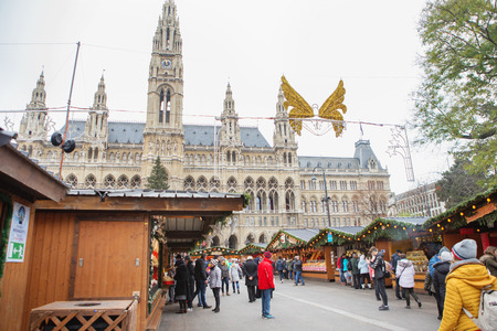 Vienna, Austria - November 24, 2018: Stalls at the Christmas Market at Rathaus in Vienna at Christmas. Merry christmas, cute festive decoration, beautiful toys for new year