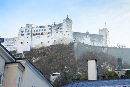 Hohensalzburg Fortress. Salzburg. Austria. Beautiful view on Salzburg skyline with Festung Hohensalzburg in the winter