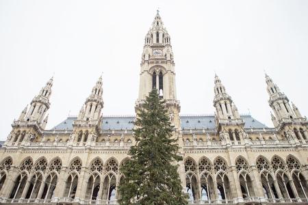 Christmas Market at Rathaus in Vienna at Christmas.