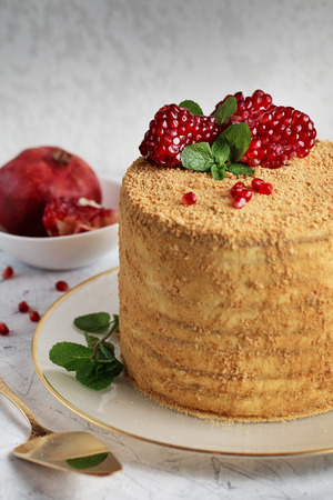 Homemade honey cake decorated with pomegranate berries and mint leaves on light gray textural background Stock Photo
