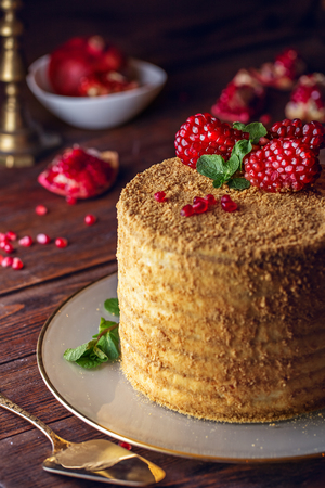 Homemade honey cake decorated with pomegranate berries and mint leaves. Dark and Moody, Mystic Light food photography.
