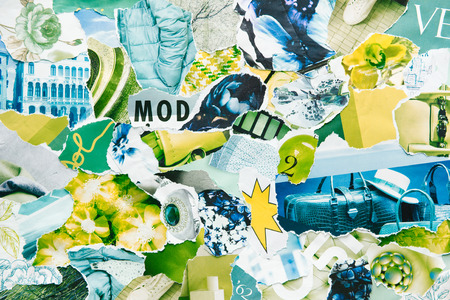 Handmade contemporary creative atmosphere art mood board collage sheet in color green-blue made of teared magazine and printed matter paper with colors and texture. Mixed texture background