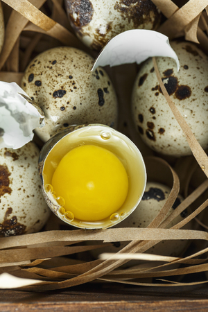 Quail eggs. Flat lay composition with small quail eggs on the natural wooden background. One broken egg with a bright yolk. Quail egg farm Zdjęcie Seryjne