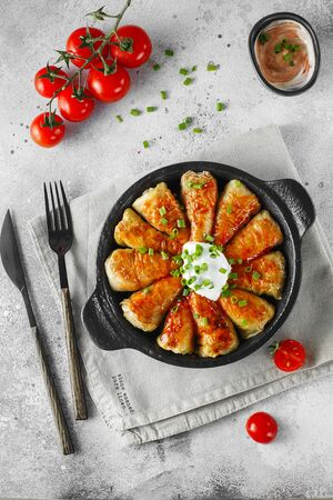 Russian stuffed cabbage rolls served with tomatoes, green onions and sour cream in heat-resistant black dishes on a gray background. Food photography. Flat lay composition.
