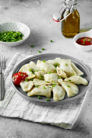 Dumplings, filled with meat. Russian, Ukrainian or Polish dish: varenyky, vareniki, pierogi, pyrohy. Food photography.