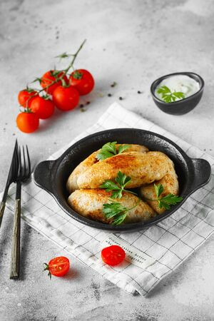 Delicious grilled beef or chicken meatballs. Meat or fish patties on the little frying pan served with parsley and tomatoes. Food photography.