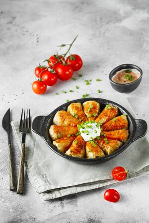 Russian stuffed cabbage rolls served with tomatoes, green onions and sour cream in heat-resistant black dishes on a gray background. Food photography. Stock fotó