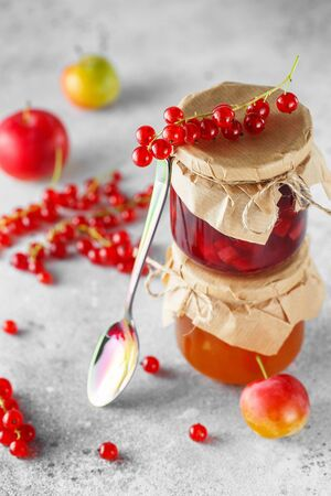 two jars of fruit homemade marmalade. Glass jars with different kinds of jam and berries. Plum and red currant jam on light gray background. Stock fotó