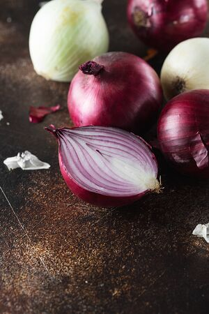 red onions on dark background. Red onion halves. Food Ingredients