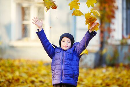 Portrait of happy joyful beautiful little boy outdoors at the autumn. Child holding a yellow maple leaves. Kid throws up a autumn yellowed foliage