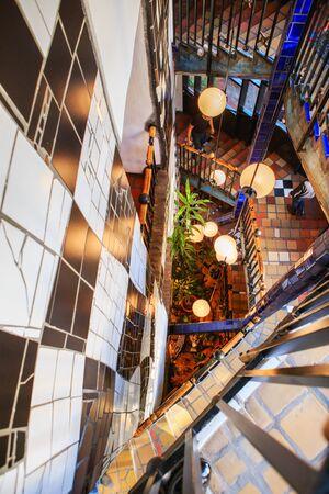 Vienna, Austria - October 27, 2019: the Museum Hundertwasser in Kunst Haus Wien in Vienna, Austria. Museum interior with stairs