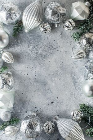 Christmas background with perimeter Christmas decorations