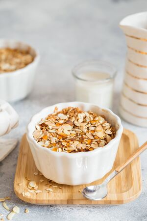 Cherry and Apricot crumble pie. Fruit Crumble with Any Kind of Fruit. Dessert with fruits, oatmeal and almonds. Berry cake, crisp in baking dish. Crispy pastry cake
