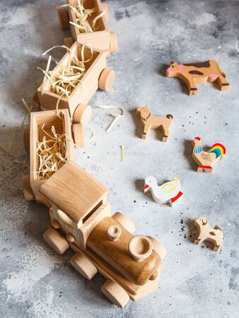 Children's wooden toys. Children wooden train with wagons. Natural wood construction set. Educational equipment. Children's wooden locomotive with various cargo in wagons.