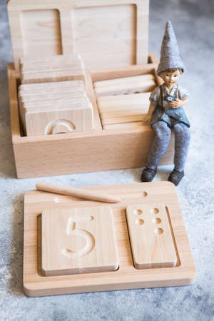 Wooden counting and writing trays - learning resource for educating littles on number writing, fine motor skills, hand eye coordination, mathematical skills. Wooden kids toys. Counting math game