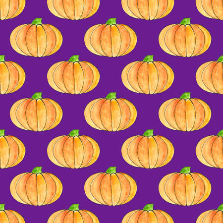 Cute hand drawn pumpkin seamless pattern, hand drawn pumpkins - great as Thanksgiving background, wallpaper, web page background, wrapping paper. Halloween seamless pattern on violet background Stock Photo