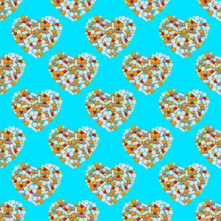 drugs capsules and pills on blue background. Multicolored pills laid out in the shape of the heart. Seamless pattern, background. endless texture