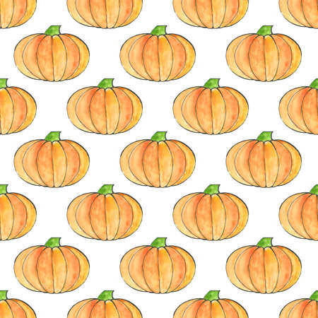 Cute hand drawn pumpkin seamless pattern, hand drawn pumpkins - great as Thanksgiving background, wallpaper, web page background, wrapping paper and etc. Halloween seamless pattern. Endless texture