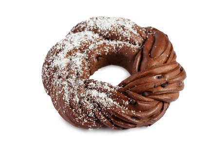 Sweet Bread Wreath isolated on white background. Chocolate brioche garland with coconut flakes. Holiday recipes. Braided Bread. Cinnamon Twist Bread Wreath. Christmas Wreath Bread