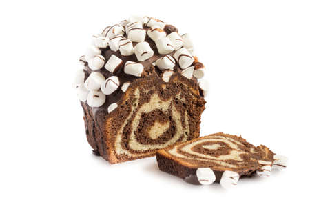 Christmas cake. Chocolate cake cutaway isolaten on white background