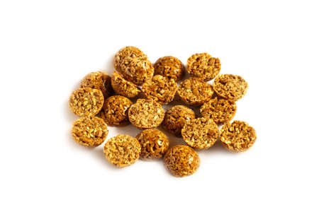 Cereal granola with nuts and dry fruit berries. Energy healthy snack. Protein muesli isolated on white background.