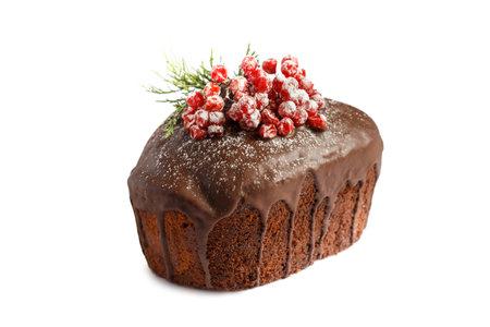 Christmas cake. Chocolate cake isolaten on white background