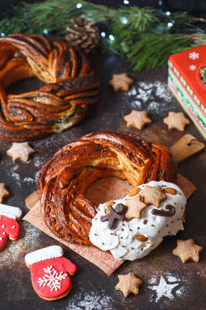 Sweet Bread Wreath decorated with stars cookies. Honey brioche garland with chocolate and nuts. Holiday recipes. Braided Bread. Cinnamon Twist Bread Wreath. Christmas Wreath Bread