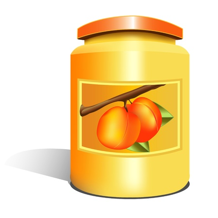 apricot jam: isolated apricot jam jar Illustration