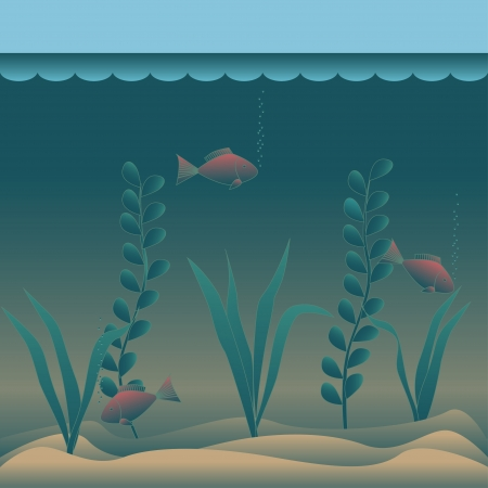 Image with undersea  vector illustration  Vector