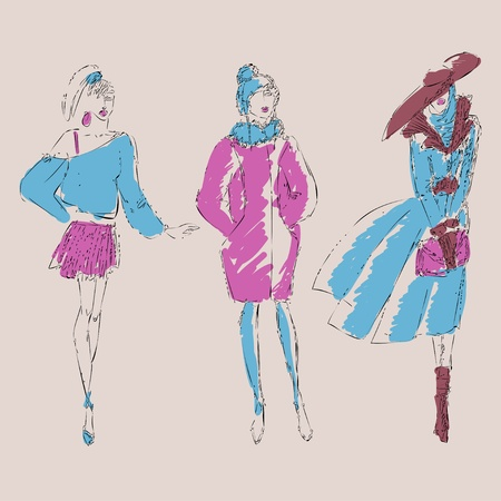 Sketch fashion girls  Vector illustration
