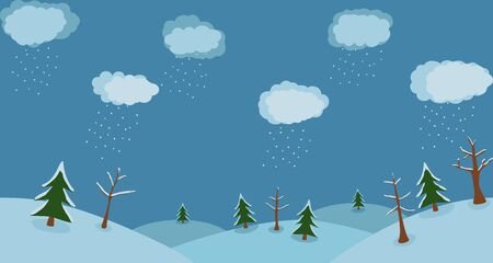 Winter background with clouds and snow trees Stock Vector - 16815744