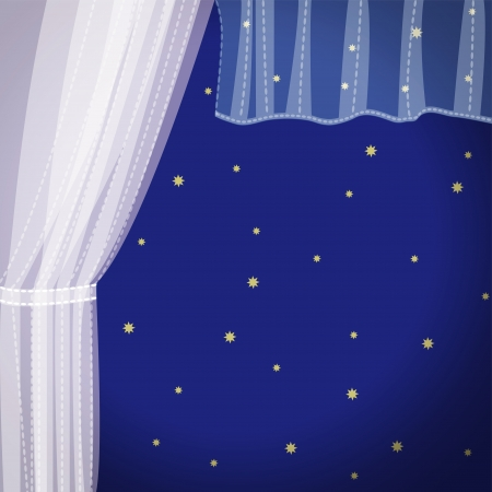 Window with a transparent curtain Vector