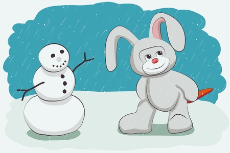 Snowman and bunny with carrots stolen Stock Vector - 16815750