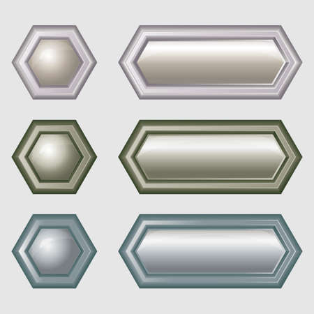 Buttons for web design - hexagonal Stock Vector - 16815753