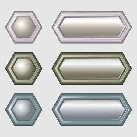 Buttons for web design - hexagonal Stock Vector - 16815753